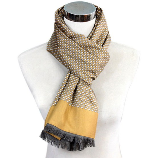 Mens Silk Scarf-Double Layers-Thick MSDT019A