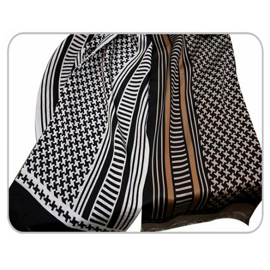 Mens Silk Scarf-Doule Layers with Fringe MSDF02
