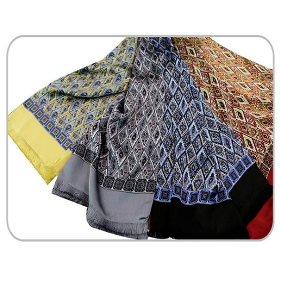 Mens Silk Scarf-Doule Layers with Fringe MSDF04