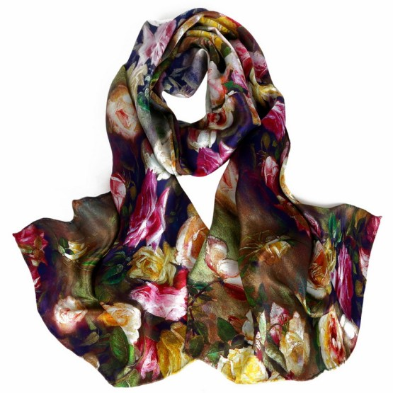 Silk Scarf-Long Digital Silk Scarf-Silk Satin SSSD018