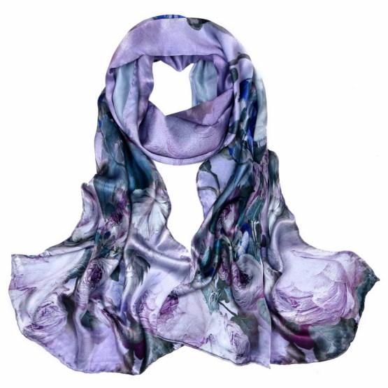 Silk Scarf-Long Digital Silk Scarf-Silk Satin SSSD020