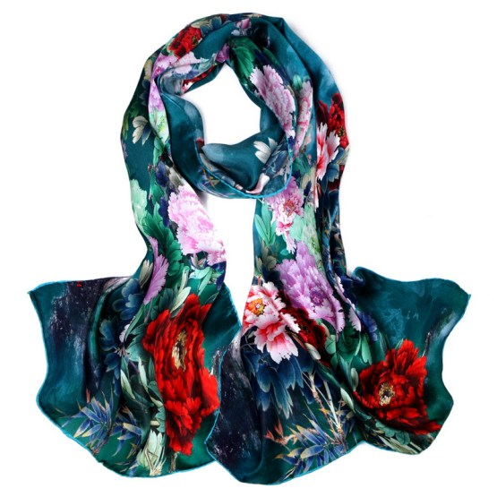 Silk Scarf-Long Digital Silk Scarf-Silk Satin SSSD025