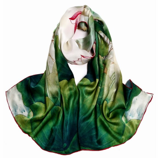Silk Scarf-Long Digital Silk Scarf-Silk Satin SSSD029