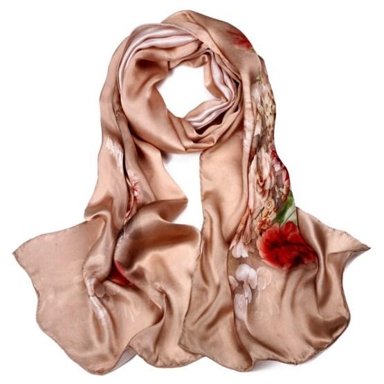 Silk Scarf-Long Digital Silk Scarf-Silk Satin SSSD05
