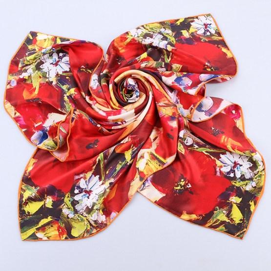 Square Silk Scarf-Silk Scarf-Digital Silk Scarf-100AA019A