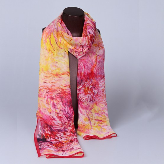 Summer Silk Scarf-Digital Silk Scarf-Long Silk Scarf-SDL01