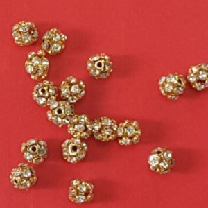 6mm gold rhine stone ball each 5 rs