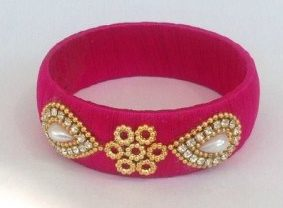 SIlk thread bangles pink coour