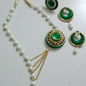 Pearl and silk Thread necklace set