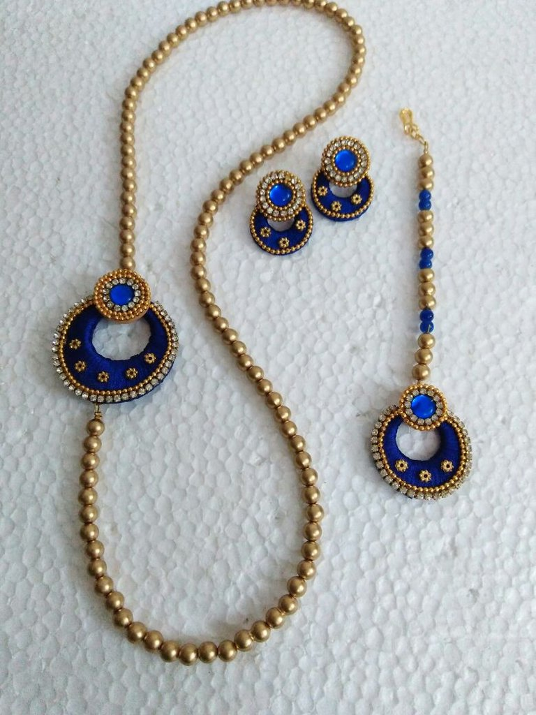 720159e37633a Blue Silk thread necklace set with earrings and maang tika