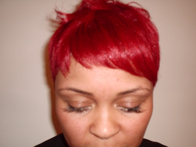 Vibrant Red Fashion Hair Colour (Front View)