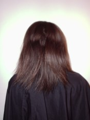Burgundy Blonde Mix Hair Colour and Relaxer - Before (Back View)