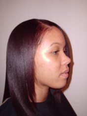 Burgundy Blonde Mix Hair Colour and Relaxer - After (Right Side View)