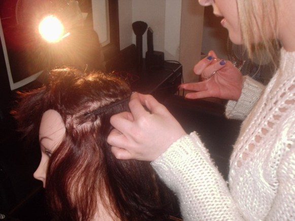 Silk Trends Hair Braiding Course - Adding weave tracks - Before
