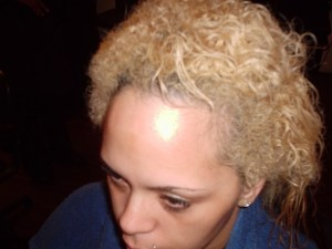 Brazilian Blowout On Dyed Mixed Race Hair (Before Front View)