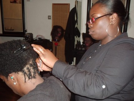 Academy Course – Natural Gel Comb Twist Style by Student – before