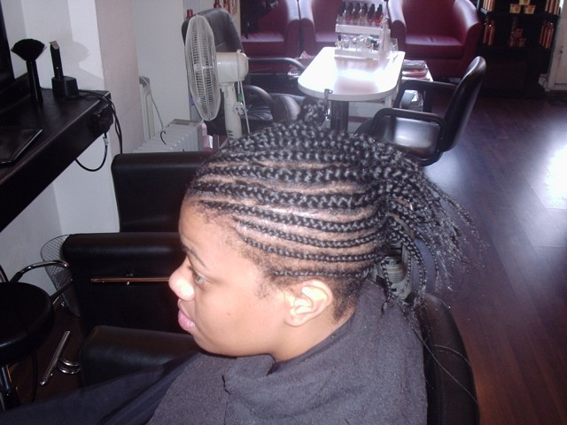 Full Head Shoulder Length Weave (Before)