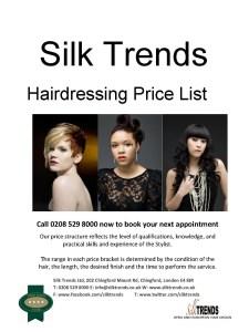 Silk Trends Hairdressing Price List