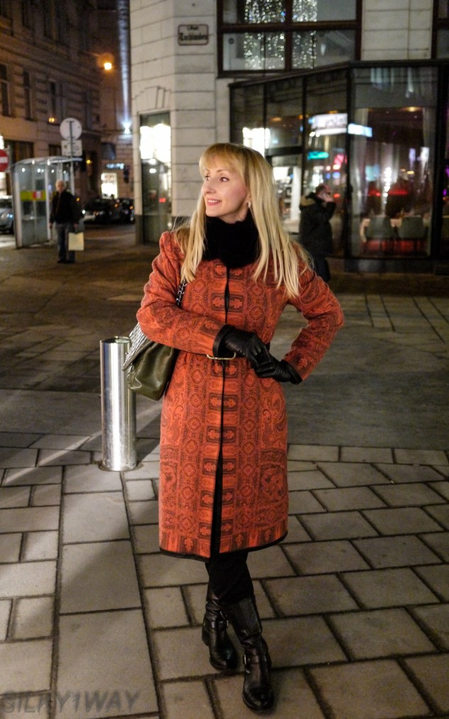 Sporting my coat made last season from Etro fabric
