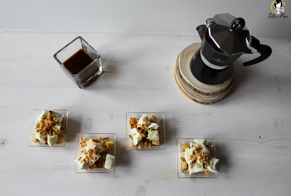 fingerfood al caffè mozzarella di bufala e granella di mandorle tostate