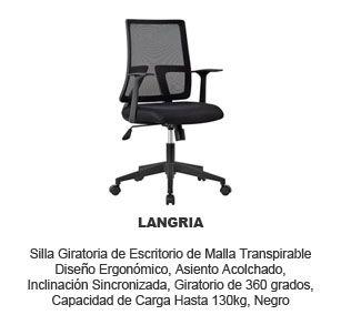 silla giratoria escritorio Langria