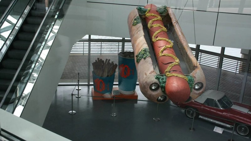Giant Hot Dog and Fries at the Rock and Roll Hall of Fame in Cleveland, Ohio