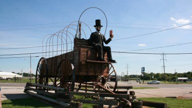 Lincoln on the World's Largest Covered Wagon in Lincoln, Illinois