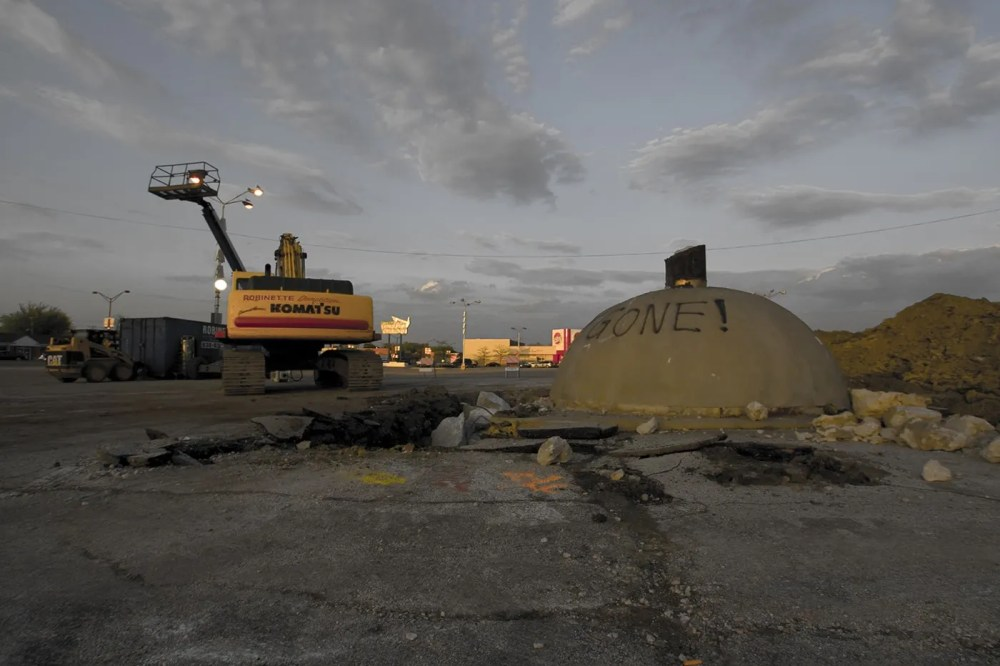 Remnants of the Spindle (car kabob, cars ona  spike) in Berwyn, Illinois after it was torn down in 2008.