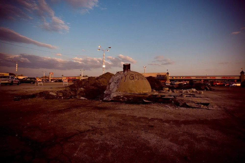 Remnants of the Spindle (car kabob, cars on a spike) in Berwyn, Illinois after it was torn down in 2008.