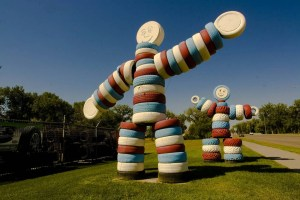 Men made from tires, a roadside attraction in Rapid City, South Dakota