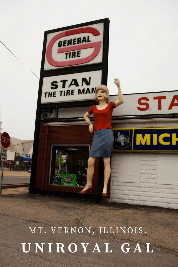 Uniroyal Gal, a Muffler Man-like roadside attraction in Mt. Vernon, Illinois.