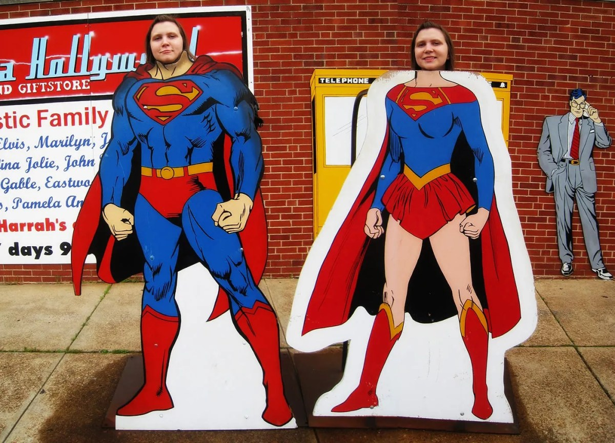 Superman Photo Ops Outside the Super Museum in Metropolis, Illinois