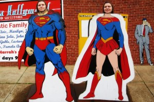Superman and Supergirl photo ops outside of the Super Museum in Metropolis, Illinois.