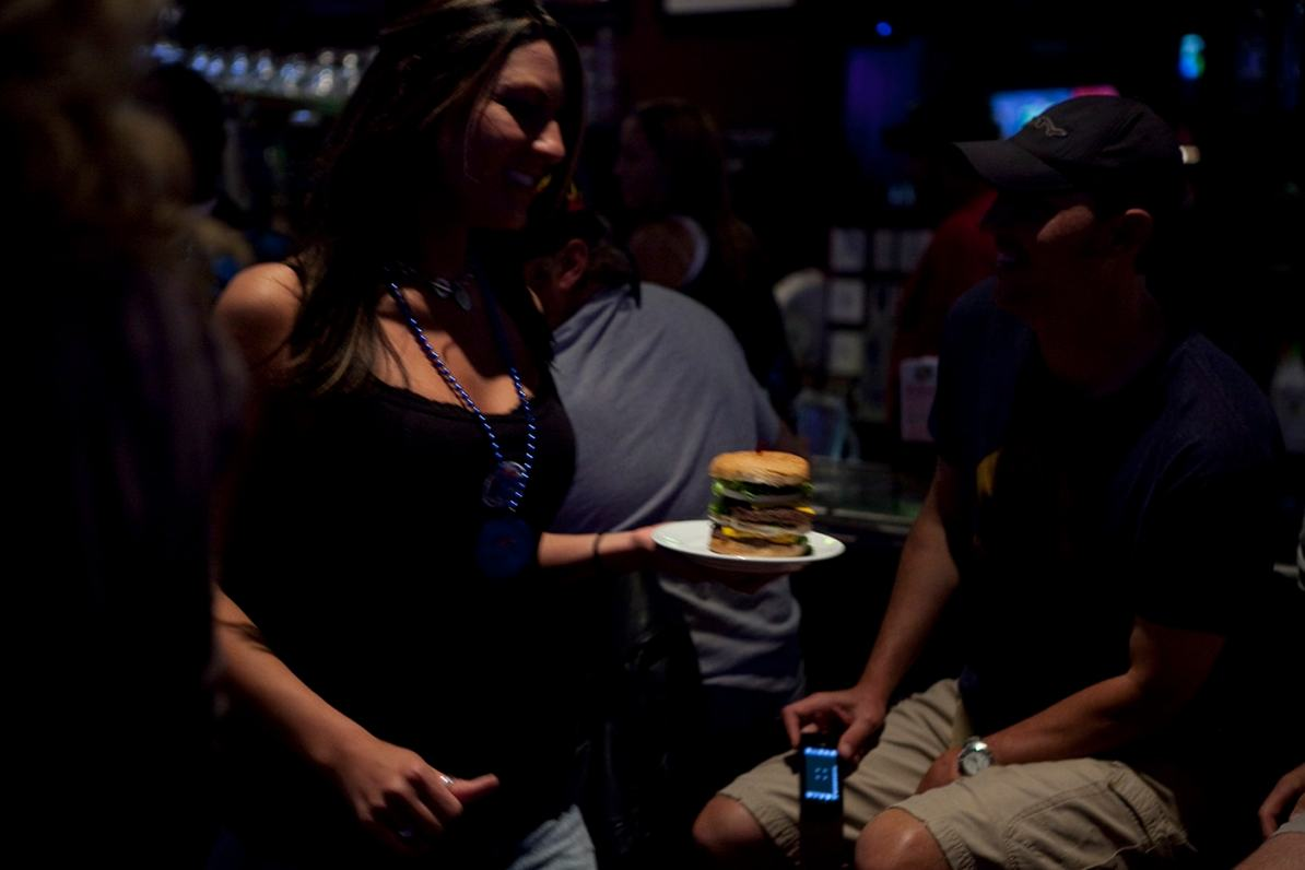 Guinness World Record for Biggest Hamburger at Mallie's Sport Bar and Grill in Southgate, Michigan