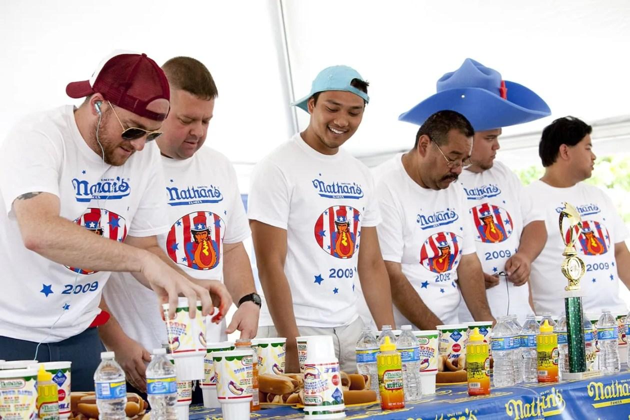 Hot Dog Eating Qualifying Contest in Kansas City, Missouri.