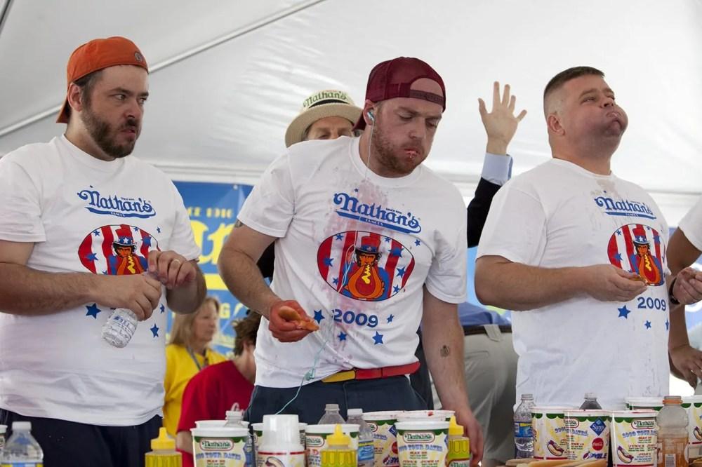 Tim Gravy Brown at a Hot Dog Eating Qualifying Contest in Kansas City, Missouri.