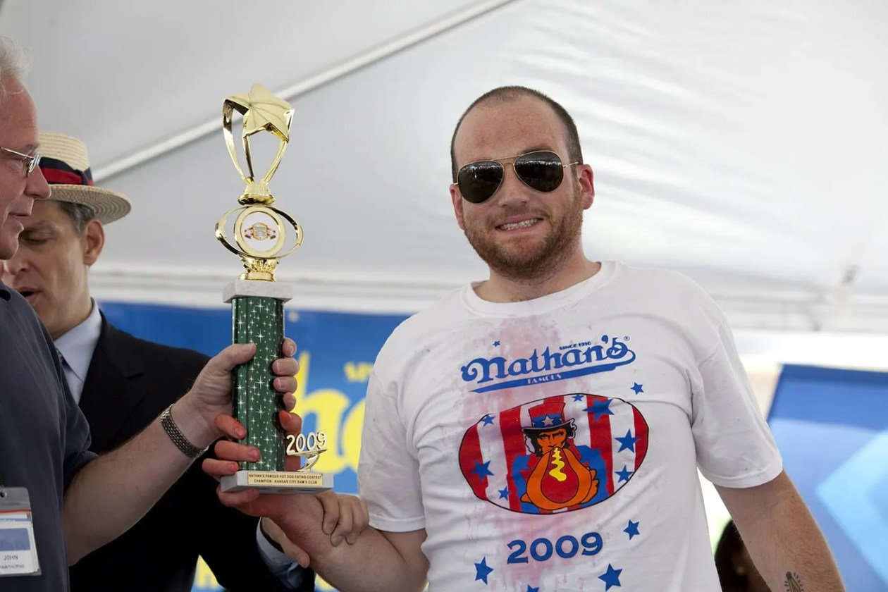 Tim Gravy Brown wins the Hot Dog Eating Qualifying Contest in Kansas City, Missouri.