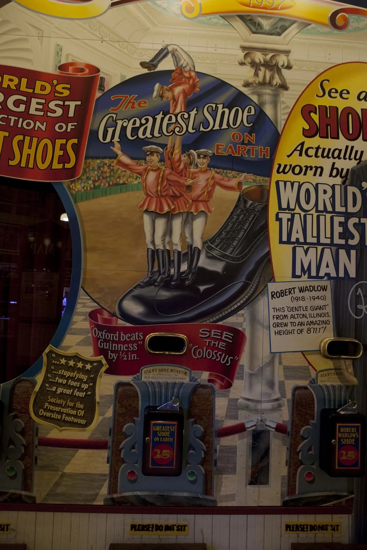The Greatest Shoe on Earth, the Colossus, at The World Famous Giant Shoe Museum in Pike Place Market in Seattle, Washington.