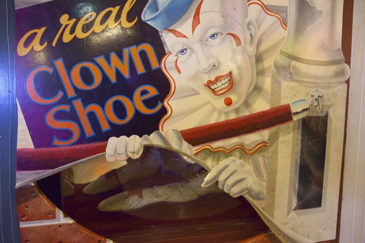 A real clown shoe at The World Famous Giant Shoe Museum in Pike Place Market in Seattle, Washington.