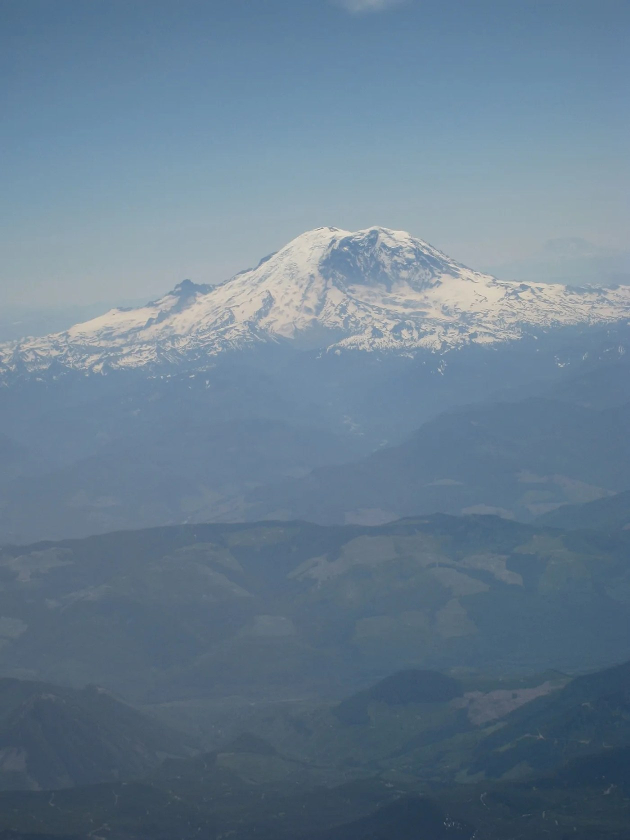 Flying from Seattle to New York - view of the mountain from the plane.