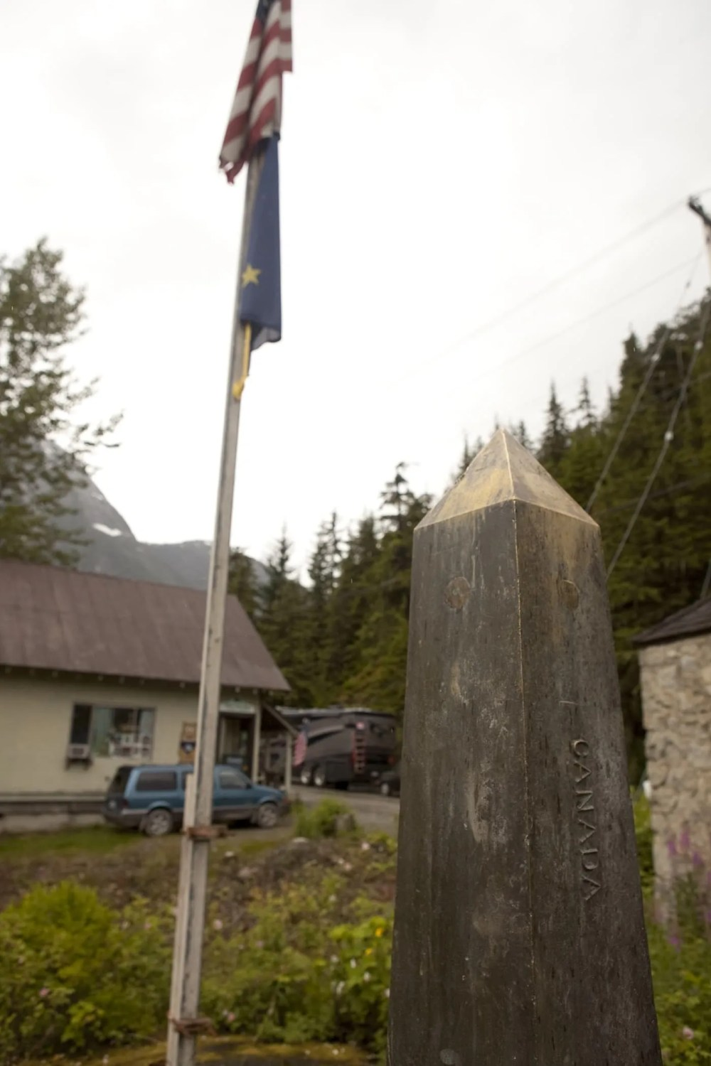 Land marker between Canada and the United States in Hyder, Alaska.