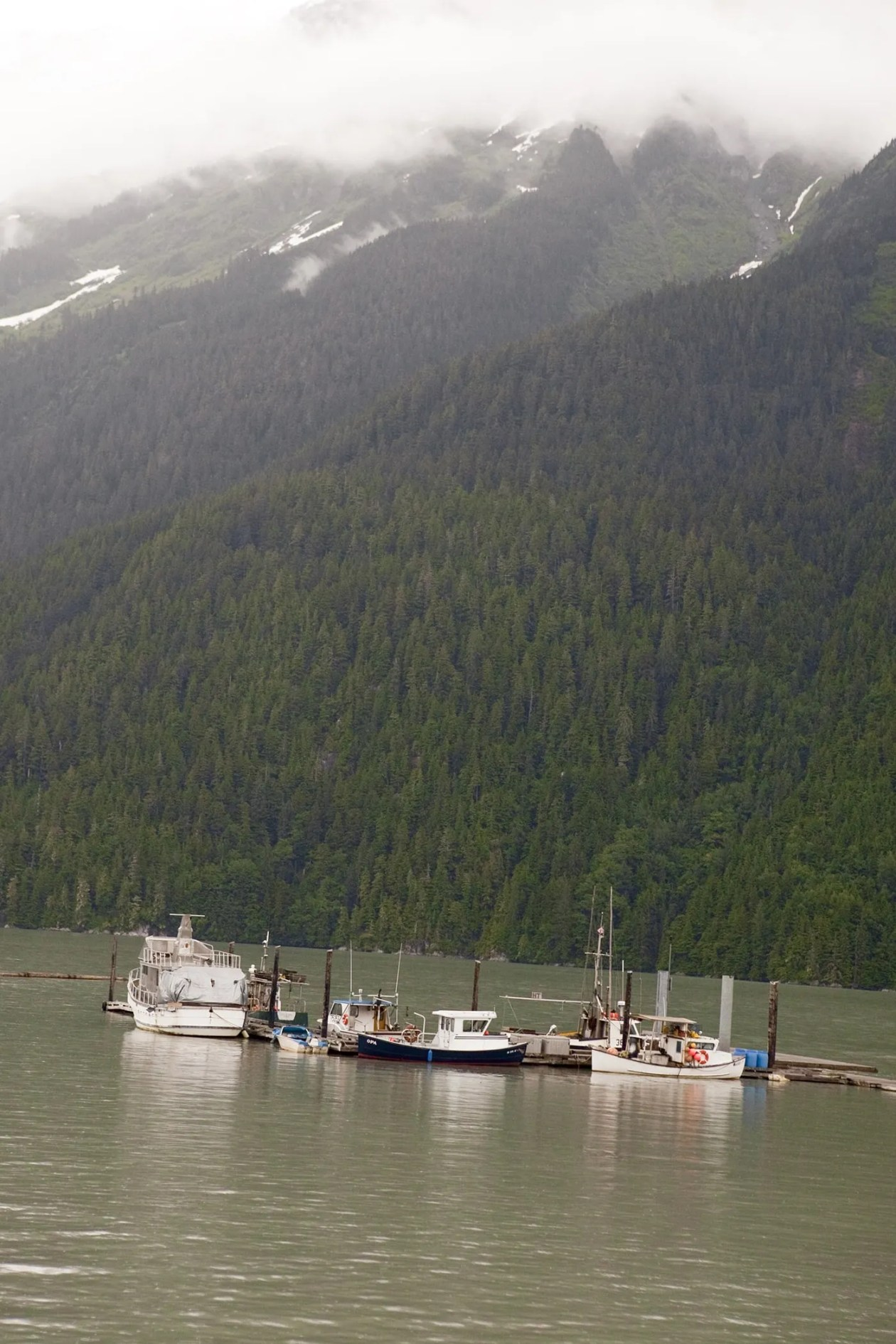 Boats near the pier in Hyder, Alaska.