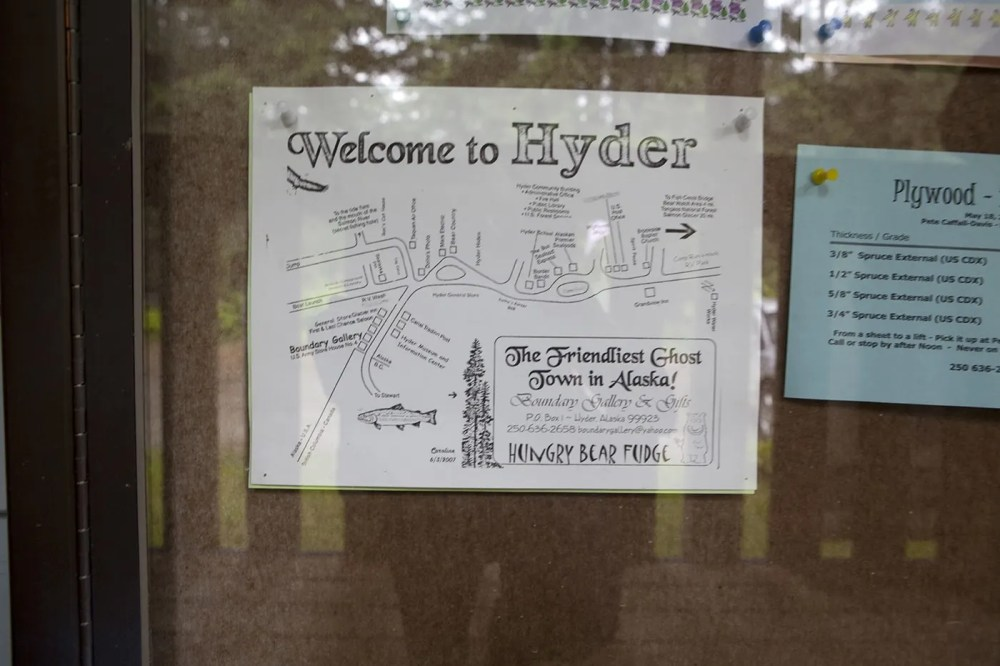 Welcome to Hyder map at the Hyder, Alaska Post Office.