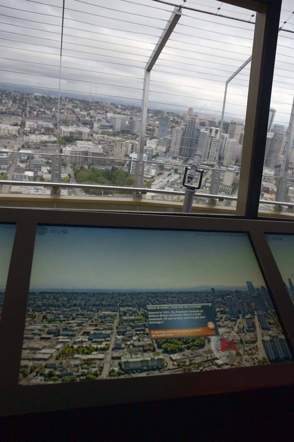View from the inside the Space Needle in Seattle, Washington.