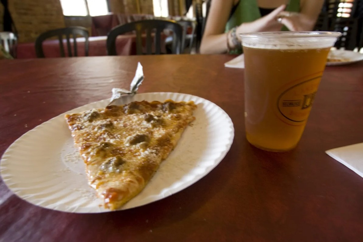 Pizza and Beer at the Lakefront Brewery Tour in Milwaukee, Wisconsin