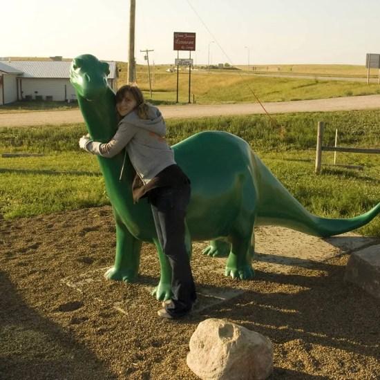 The Sinclair Oil Dinosaur at a Gas Station in South Dakota.