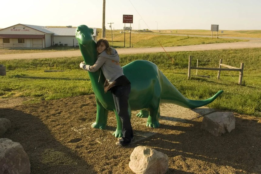 The Sinclair Oil Dinosaur at a Gas Station in South Dakota.