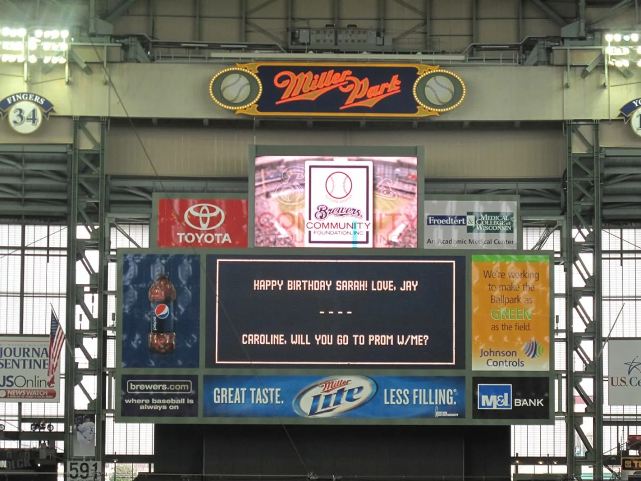 Promposal at a Brewers game at Millers Park in Milwaukee.