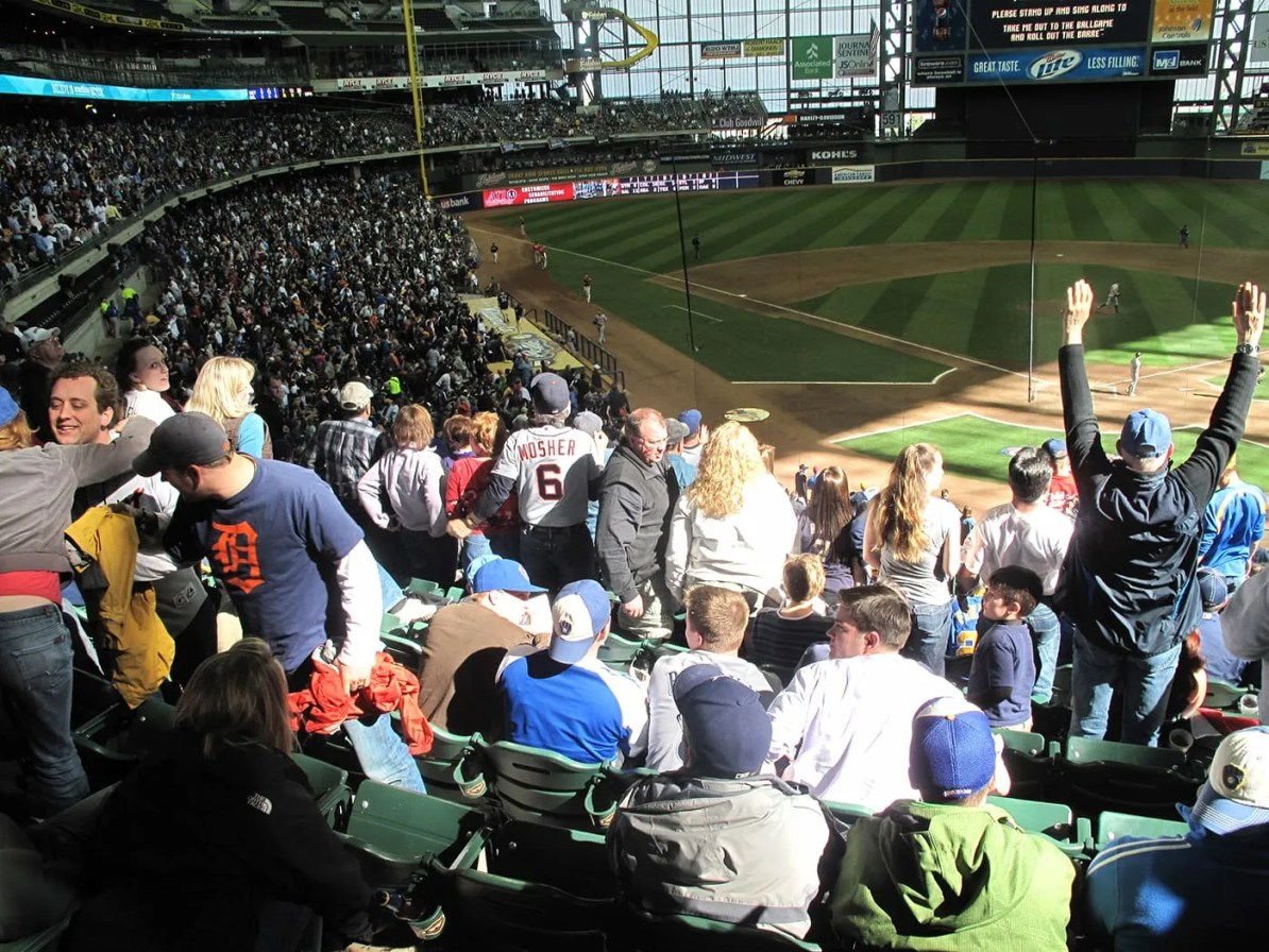 Seventh inning stretch at a Brewers game at Millers Park in Milwaukee.