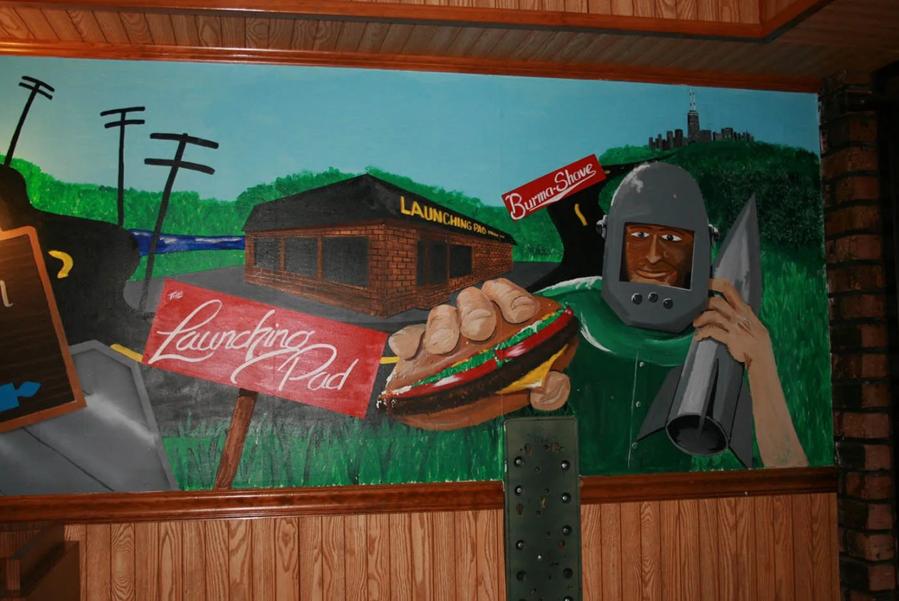 Gemini Giant Mural at the Launching Pad in Wilmington, Illinois